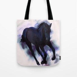 A Friesian foal's morning joy Tote Bag