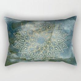 MANDALA ON BLUE MARBLE Rectangular Pillow