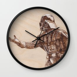 Darth Vader Portrait - Drawing by Burning on Wood - Pyrography Wall Clock