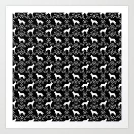 Australian Kelpie dog pattern silhouette black and white florals minimal dog breed art gifts Art Print