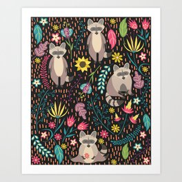 Raccoons bright pattern Art Print