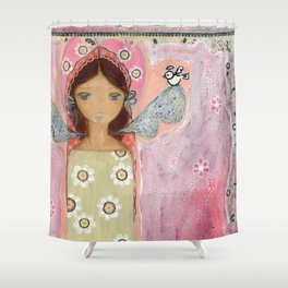 Angel with Little Bird by Flor Larios Shower Curtain