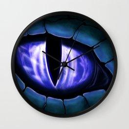 Blue Dragon Eye Fantasy Painting Colorful Digital Illustration Wall Clock