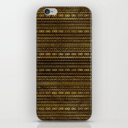 Golden Tribal Pattern on Dark wood iPhone Skin
