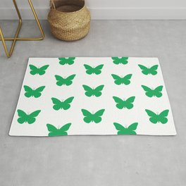 Green Butterfly Pattern and Print Rug