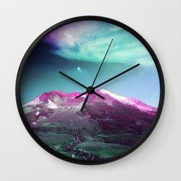 Space Mountain Vaporwaves Scene Over Washington Wall Clock