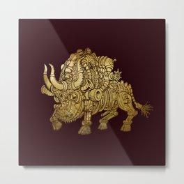 golden mechanical bull Metal Print