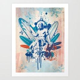Poseidon surfer  Art Print