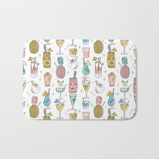 Tropical cocktails summer drinks pineapple tiki bar pattern by andrea lauren Bath Mat