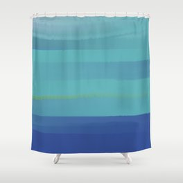 Impressions in Teal and Blue Shower Curtain