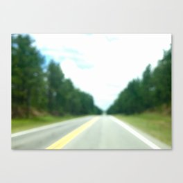 road surrounded by the green forest Canvas Print