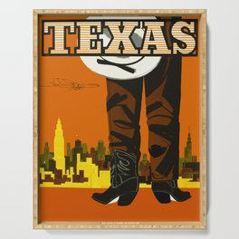 Vintage Texas Travel Poster Serving Tray