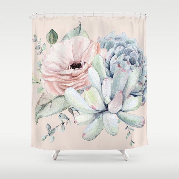 Elegant Blush Pink Succulent Garden by Nature Magick Shower Curtain