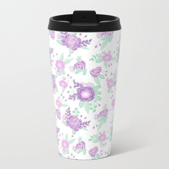 Floral pattern minimal painted nursery mint and purple pastel decor florals Metal Travel Mug