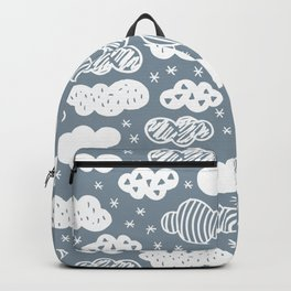 Raw geometric clouds blue sky illustration pattern Backpack