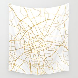 WARSAW POLAND CITY STREET MAP ART Wall Tapestry