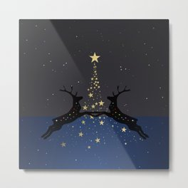 Champagne Gold Star Christmas Tree with Magical Reindeers | Dreamy Blue Metal Print