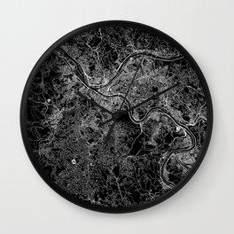Pittsburgh Black Map Wall Clock