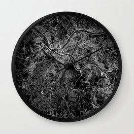 Pittsburgh Black Map Wall Clock