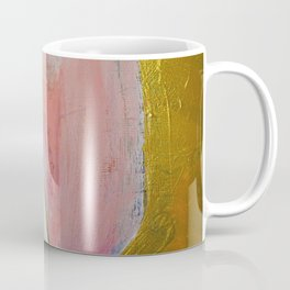 Bliss: A pretty, minimal, abstract mixed-media piece in pink white and gold by Alyssa Hamilton Art Coffee Mug