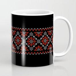 Traditional flowers cross-stitch row black Coffee Mug