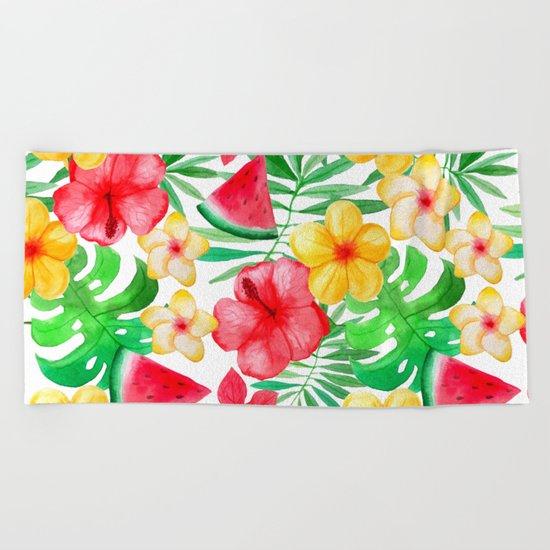 Happy Summer Life- Aloha Flowers and Melon - Pattern on #Society6 Beach Towel