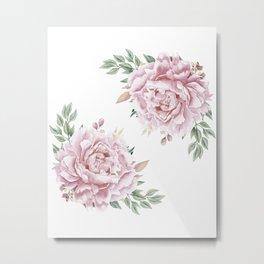 Pink Roses Duet Metal Print