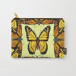 ORIGINAL DESIGN  ABSTRACT OF YELLOW & ORANGE MONARCH BUTTERFLIES BROWN ART Carry-All Pouch