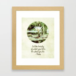 Zen Flower Water Lily With Inspirational Rumi Quote Framed Art Print