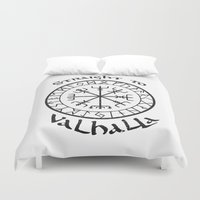vikings Duvet Covers featuring Straight to Valhalla, Vikings by ZsaMo Design
