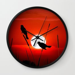 Blackbirds On Red Sunset. Wall Clock