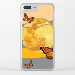 MOON & MONARCH BUTTERFLIES DESERT SKY ABSTRACT ART Clear iPhone Case