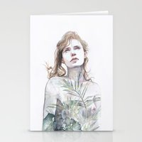breathe Stationery Cards featuring Breathe in, breathe out by agnes-cecile