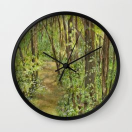 Wooded Path Watercolor Landscape Detailed Realism Wall Clock