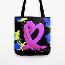 Pink Heart Ribbon (with Tie-Dye Blue-Yellow) for Breast Cancer Research by Jeffrey G. Rosenberg Tote Bag