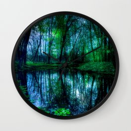 Enchanted Forest Lake Green Blue Wall Clock