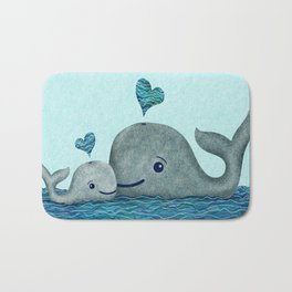 Whale Mom and Baby with Hearts in Gray and Turquoise Bath Mat