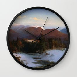 Mount Lafayette In Winter 1870 By Thomas Hill | Reproduction Wall Clock