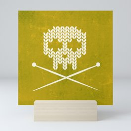 Knitted Skull (White on Yellow) Mini Art Print