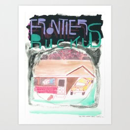 """""""One-Story-Carport-Houses"""" / Frontier Ruckus Song Illustrations, Series 1 (11/15) Art Print"""