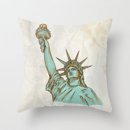 statue of liberty hand dawn Throw Pillow