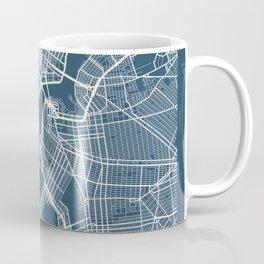 New York Blueprint Street Map, New York Colour Map Prints Coffee Mug