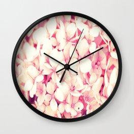Rose Pink Flowers (Hydrangea) Wall Clock