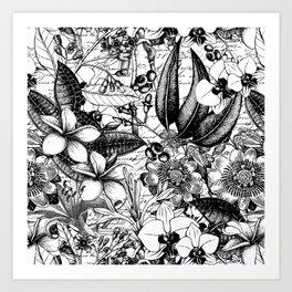 Black And White Tropical Flower Pattern Art Print