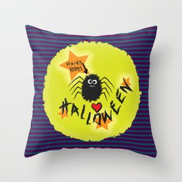 Hairy Boris Loves Halloween! Throw Pillow