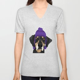 Purple hat Black and Tan Coonhound Unisex V-Neck