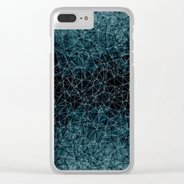 Polygonal blue and black Clear iPhone Case