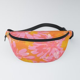 Flower Petals and Leaves in Orange and Pink Color palette Sunny mood #decor #society6 #buyart Fanny Pack