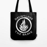 divergent Tote Bags featuring Divergent -  Dauntless The Brave by Lunil