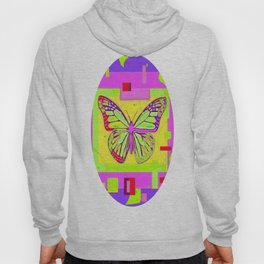 Artistc Colored Fantasy Monarch Butterfly in Lime & Pink Summer Hoody